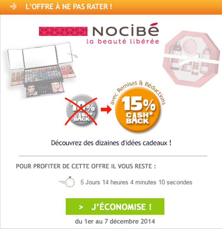 nocib est l offre de la semaine sur remises et r ductions. Black Bedroom Furniture Sets. Home Design Ideas